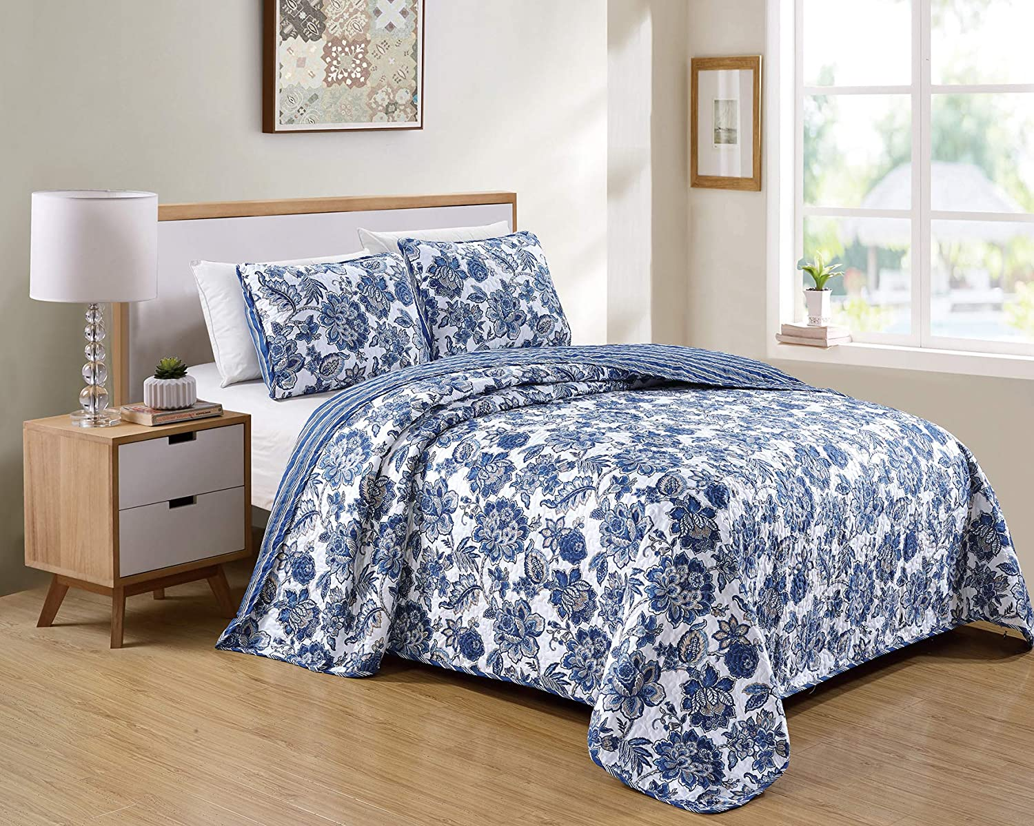 Better Home Style 3 Piece Blue White Taupe Floral Luxury Lush Soft Flowers Reversible Quilt Coverlet Bedspread Oversized Bed Cover Set # 12096 (Full/Queen)