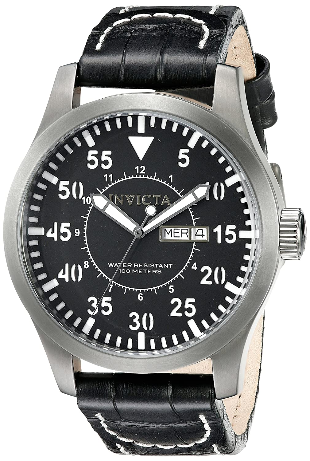 Amazon.com: Invicta Mens 11200 Specialty Black Dial Black Leather Watch: Invicta: Watches