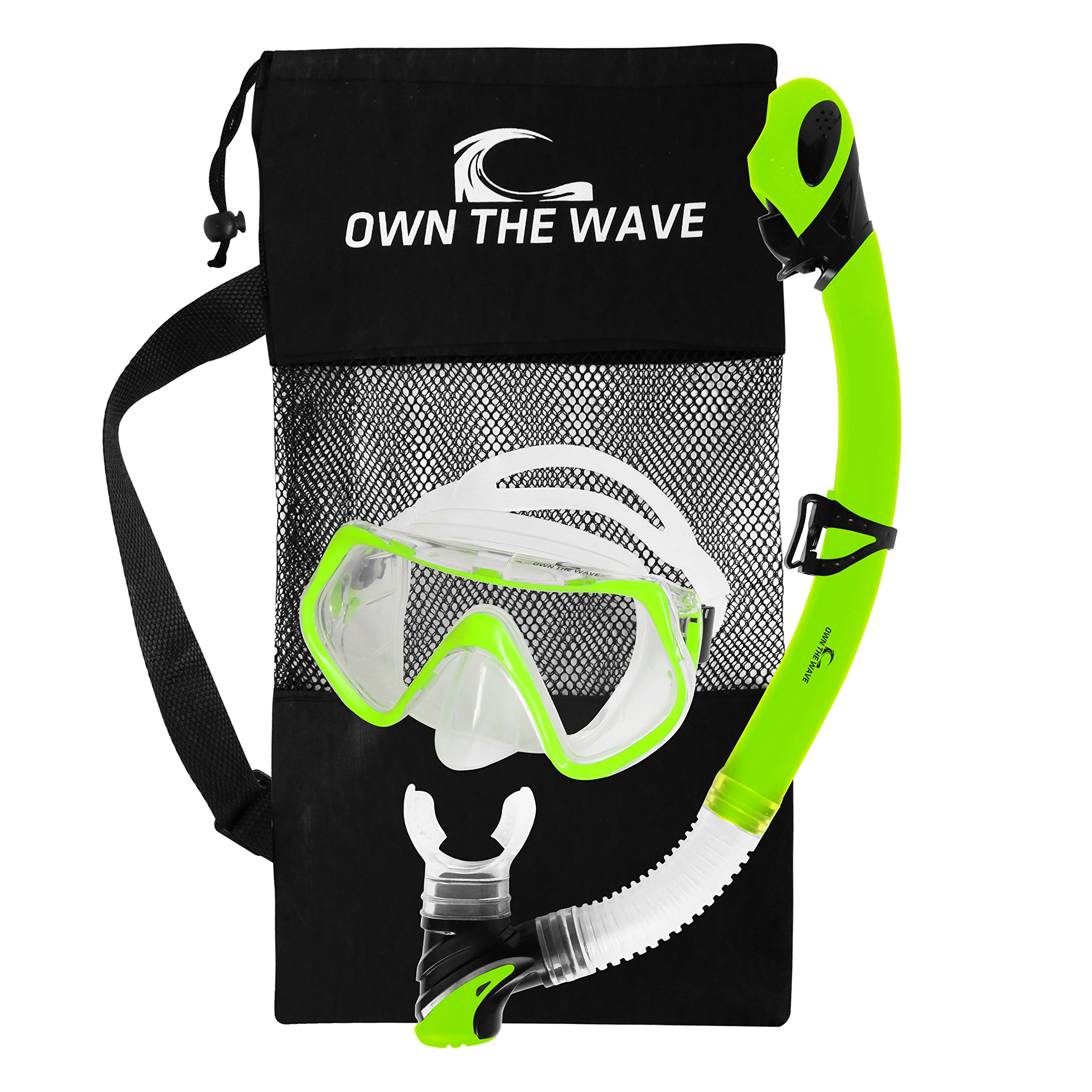 Own the Wave Snorkeling Gear - Impact Resistant Glass Anti Leak Silicone Skirt Adjustable Strap Diving Mask with Purge Valve Dry Top Snorkel Tube Swimming Mask Snorkel Tube Set w/Bag (Yellow) by Own the Wave