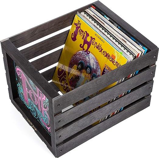 Chalkboard Vinyl Record Storage Crate (Matte Black)