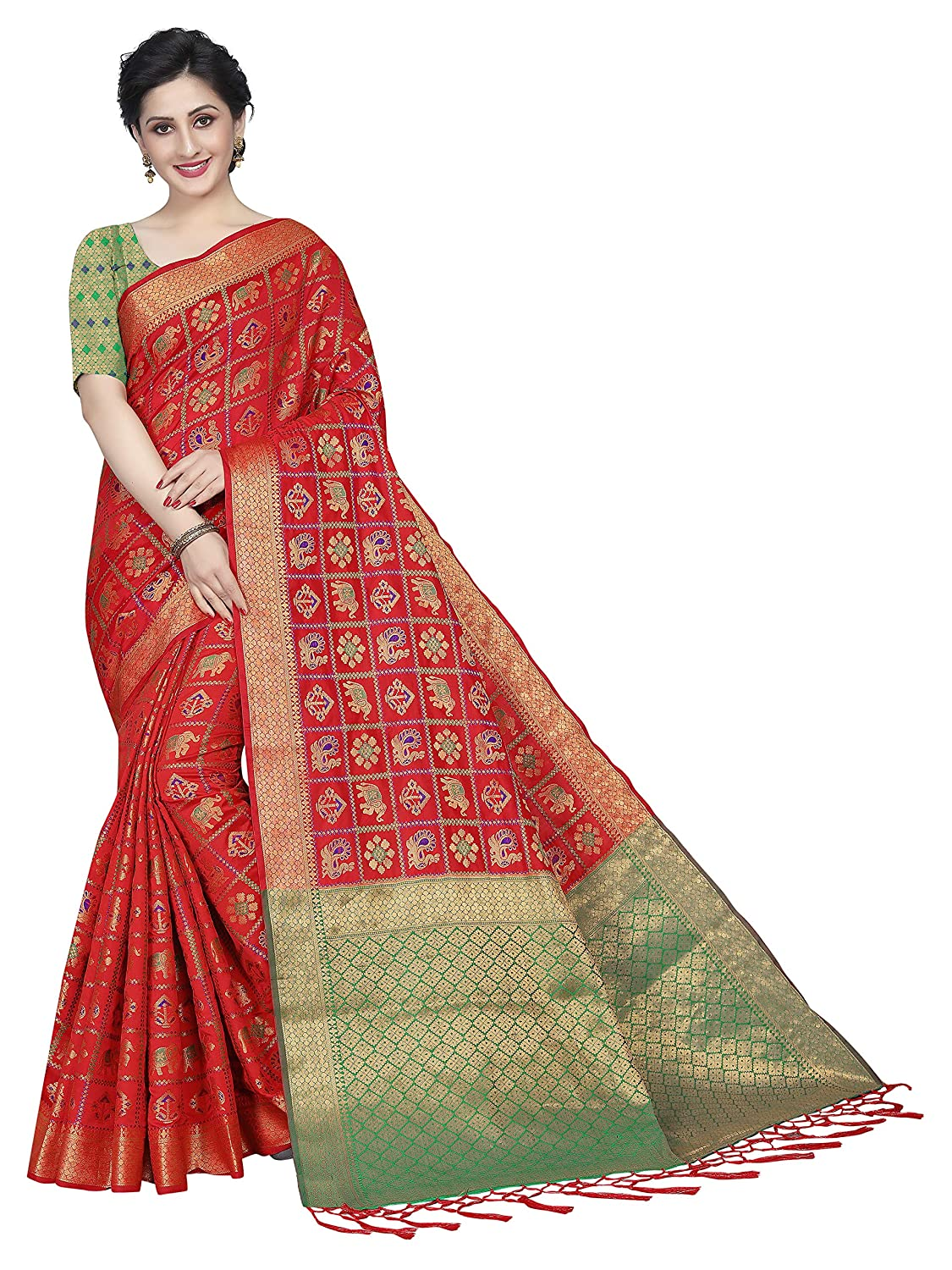 4f2522590b Silk Zone Women's Blue Patola Silk Saree With Blouse Piece  (SZ-PL1-02-Multicolor-Free Size): Amazon.in: Clothing & Accessories