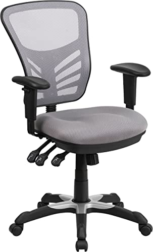 Flash Furniture Mid-Back Gray Mesh Multifunction Executive Swivel Ergonomic Office Chair