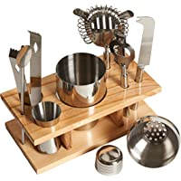 Fineway 10pc Bar Tool Jigger Strainer Bottle Opener Cocktail Shaker Maker Set With Wooden Stand - Ice Tongs, Beer and Wine Bottle Opener, Muddler -  Ideal Xmas Present