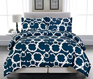Home Maison Rhys Hotel Quality Luxury Comforter Duvet Insert Cover Hypoallergenic   3 Piece Set   Geometric Collection,   Fits Full & Queen Size  , Indigo Blue