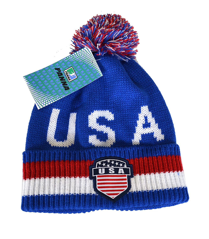 USAビーニーポンポン付きサッカーフラグUSA愛国アメリカフラグビーニー B01MRZWOXQネイビー
