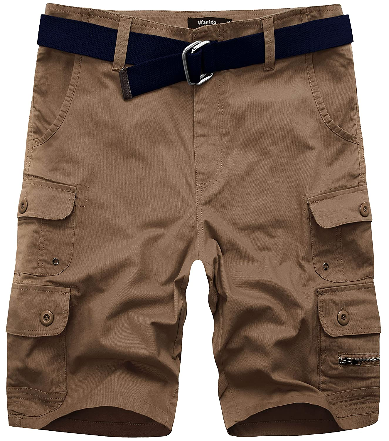 Wantdo Men's Summer Belted Cotton Work Shorts Loose Fit Cargo Shorts WDNZ125