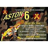 8   Personalised Nerf Gun/Nerf War/ Army Birthday Party Invitations +Envelopes