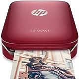 impresora de fotos portátil HP Sprocket (negra) con papel fotográfico de dorso adhesivo ZINK®, Impresora, Rojo