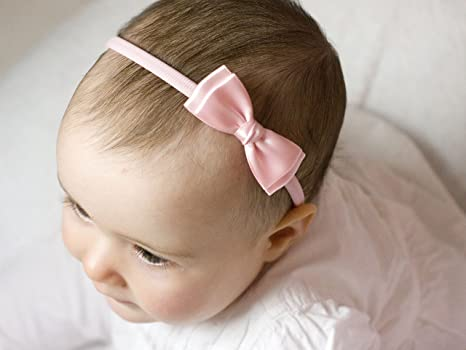 Christening with Pearls Satin Bow  Leopard Elastic Band Baby Girl Headbands