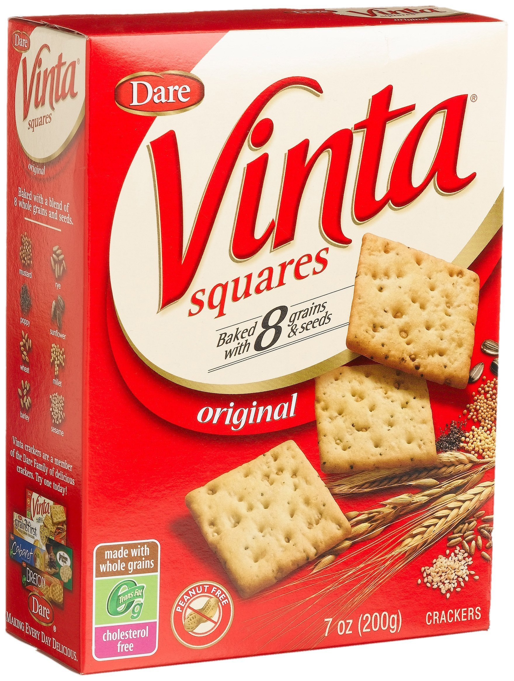 Vinta Squares Crackers, Original –8 Grains and Seeds – No Artificial Flavors, No Cholesterol, Peanut Free - Delicious Plain or Topped, 7 oz boxes. (Pack of 12)