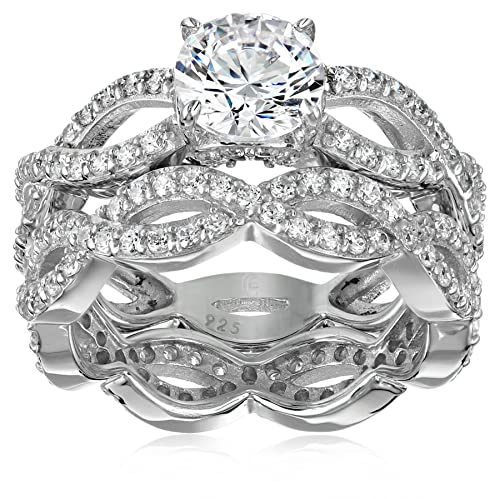 Platinum-Plated Sterling Silver Swarovski Zirconia Round-Cut Infinity Band Ring Set 2.75 cttw , Size 8