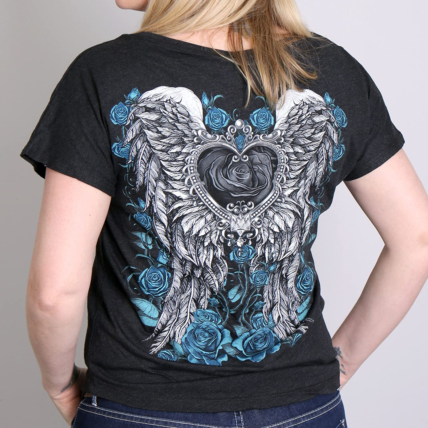 Hot Leathers Womens Angel Roses Dolman Relax Fit Full Cut T-Shirt Vintage Black, Large