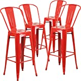 Flash Furniture 4 Pk. 30'' High Red Metal Indoor-Outdoor Barstool with Back
