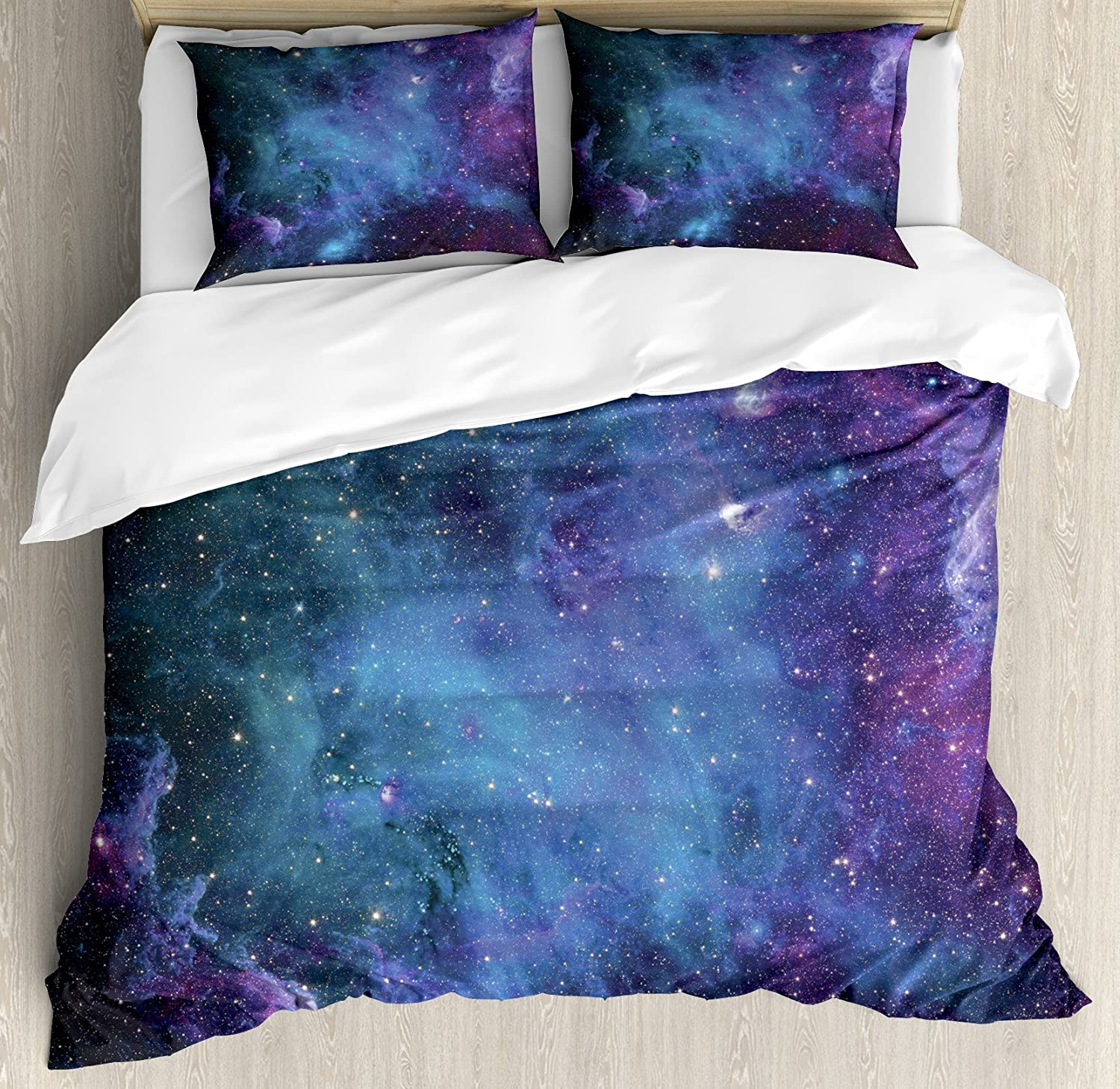 Ambesonne Space Decorations Duvet Cover Set, Galaxy Stars in Space Celestial Astronomic Planets in The Universe Milky Way Print, 3 Piece Bedding Set with Pillow Shams, Queen/Full, Navy Purple