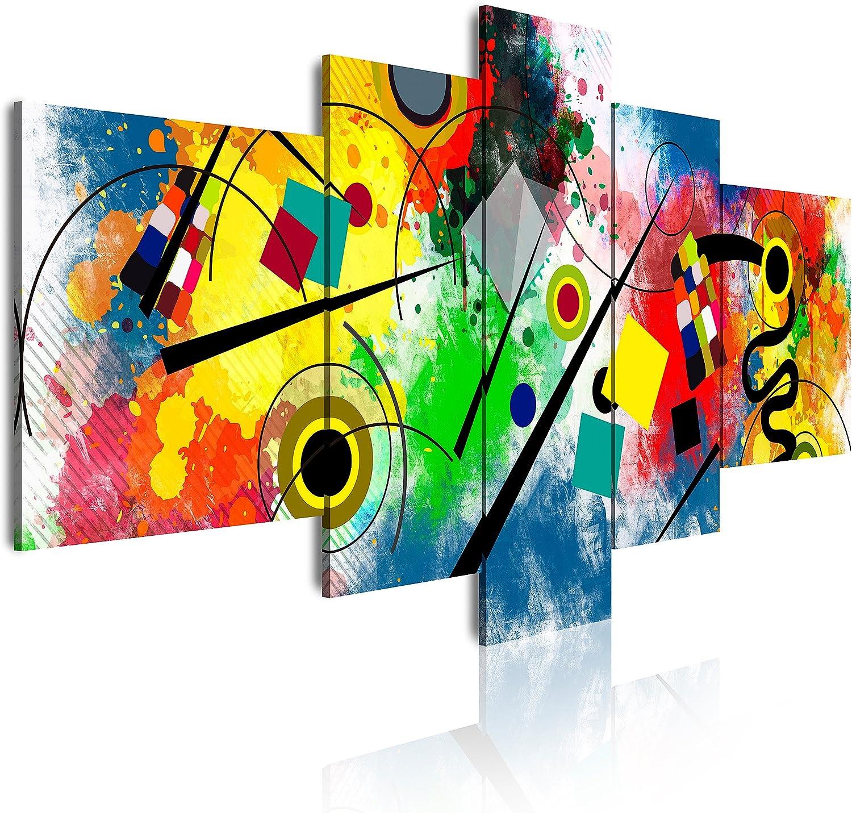 DekoArte - Cuadros Modernos Impresión de Imagen Artística Digitalizada | Lienzo Decorativo Para Tu Salón o Dormitorio | Estilo Abstractos Moderno Arte Kandinsky Rojo Azul | 5 Piezas 180 x 85 cm XXL