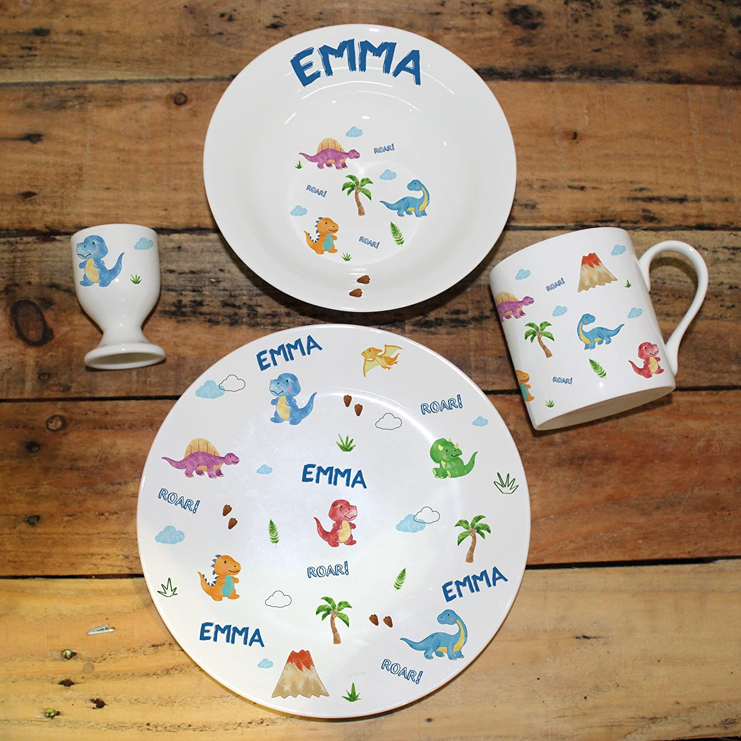Personalised Dinosaur Breakfast Set, Made up of an egg cup, 8