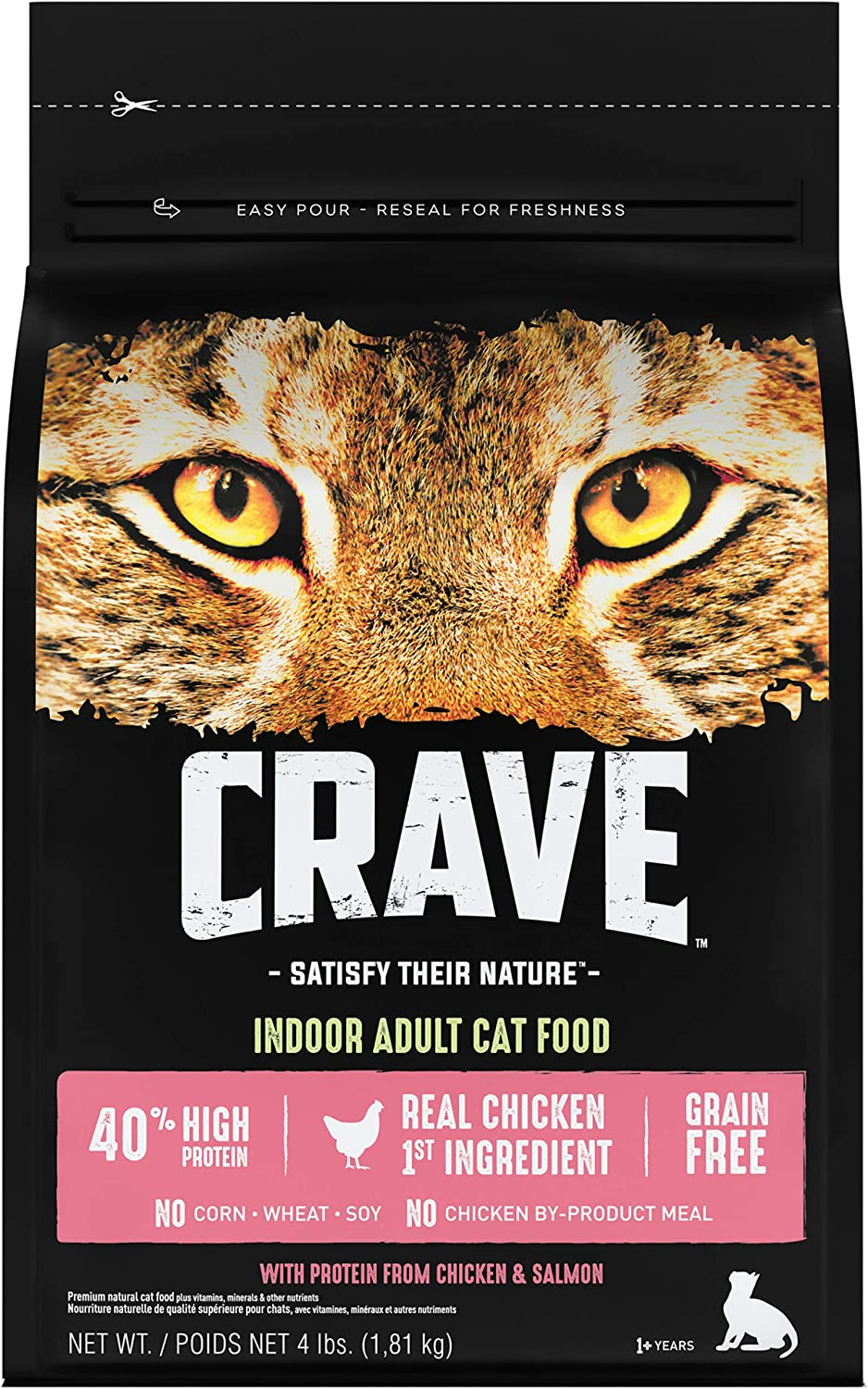 CRAVE Grain Free Indoor Adult High Protein Natural Dry Cat Food with Protein from Chicken & Salmon, 4 lb. Bag
