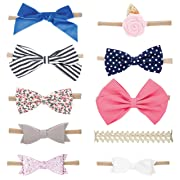 Parker Baby Girl Headbands and Baby Bows, Assorted 10 Pack of Hair Accessories for Girls - The Essentials Set