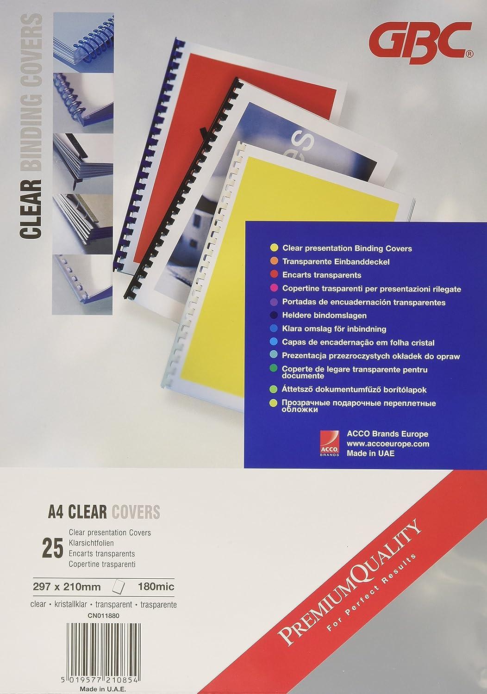 GBC CN011880 Hiclear Copertine per Rilegatura A4, PVC 180 Mic, Confezione da 25, Trasparente ACCO Brands