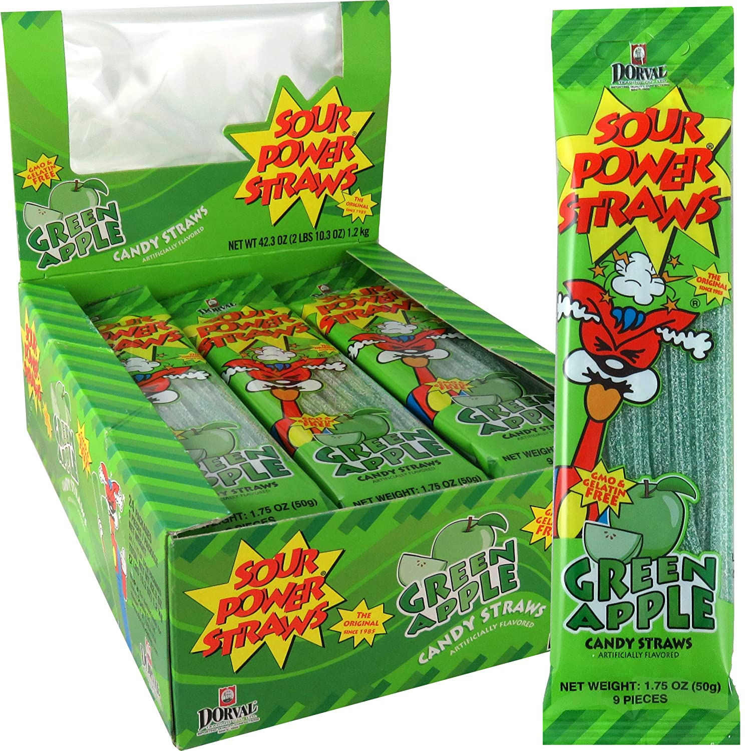 Sour Power Candy Straws, Green Apple, 24-Count, 1.75 Ounce (Pack of 24) (SOURP0W-4)