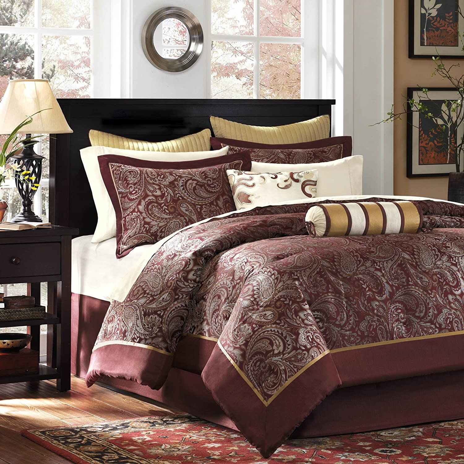 Madison Park Aubrey Cal King Size Bed Comforter Set Bed In A Bag - Blue, Brown , Paisley Jacquard – 12 Pieces Bedding Sets – Ultra Soft Microfiber Bedroom