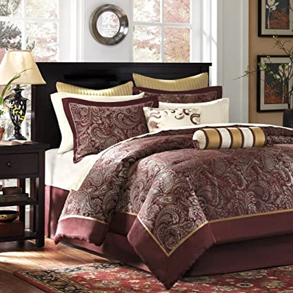 Beau Madison Park Aubrey Queen Size Bed Comforter Set Bed In A Bag   Burgundy,  Paisley