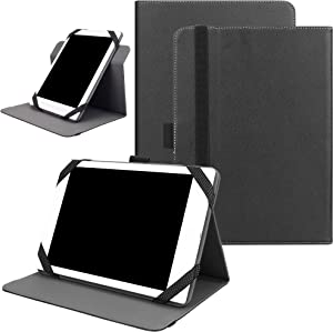 "KuRoKo Universal 360 Rotating Case for 7-8 inch Tablet, Stand Folio Universal Tablet Case Protective Cover for 7"" 8"" Tablet(Samsung Asus Acer Google Lenovo iPad etc) (Black)"