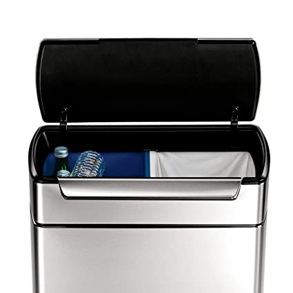 dual compartment trash can sensor simplehuman 48 liter 127 gallon stainless steel touchbar kitchen dual compartment trash can amazoncom touch