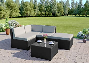rattan wicker weave garden furniture conservatory modular corner sofa set includes garden furniture cover black