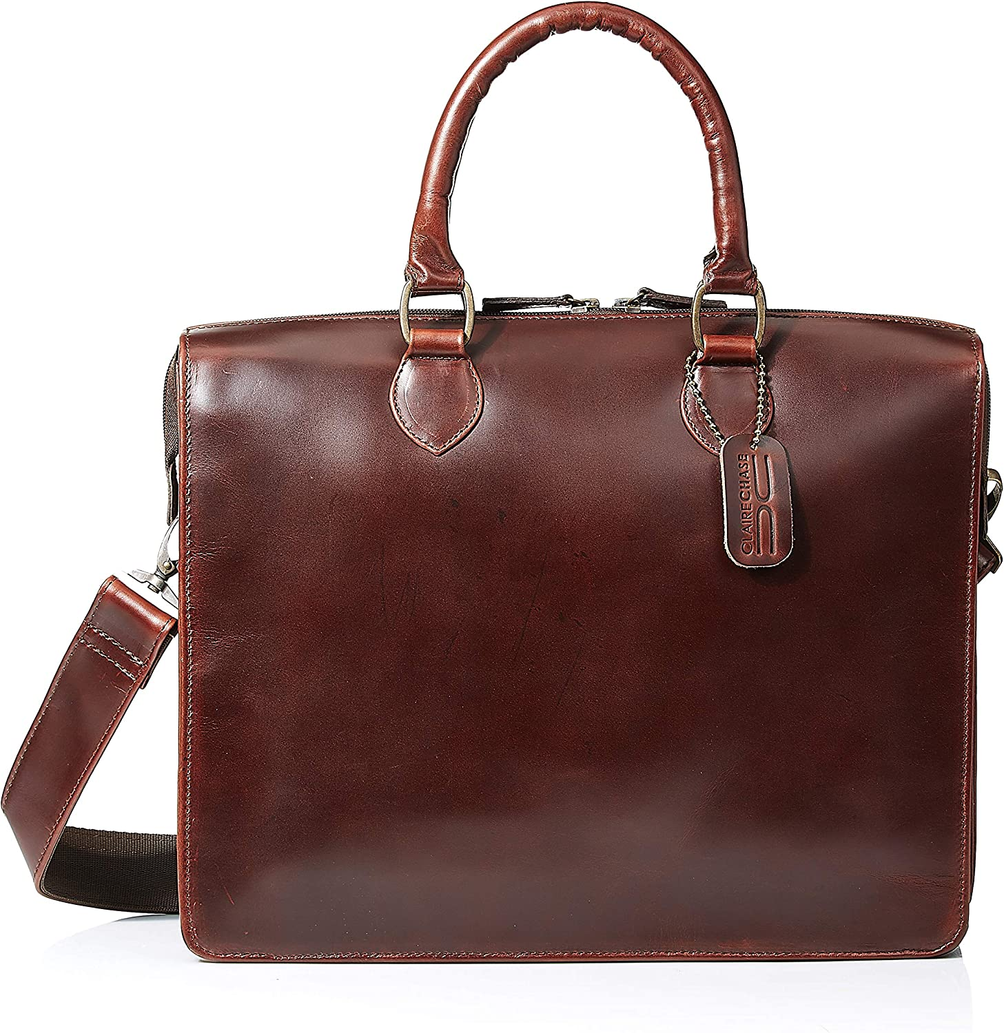 Claire Chase Leather Brussels Briefcase in Dark Brown