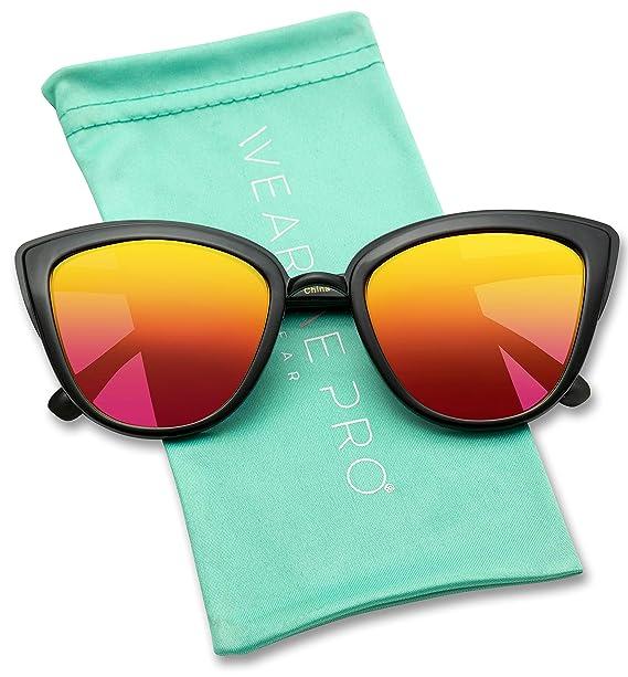 714c04748 Womens Cat Eye Mirrored Reflective Lenses Oversized Cateyes Sunglasses ( Black/Mirror Orange/Red