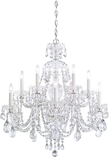 Schonbek 3601-40H Swarovski Lighting Sterling Chandelier, Silver