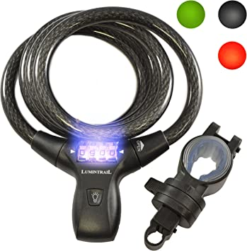 Lumintrail Security 4 Digit Combination Bike Cable Lock w// Mounting Bracket