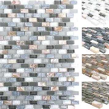 Mosaikfliesen Muschel Glas Naturstein Jasmina | Wand-Mosaik | Mosaik ...