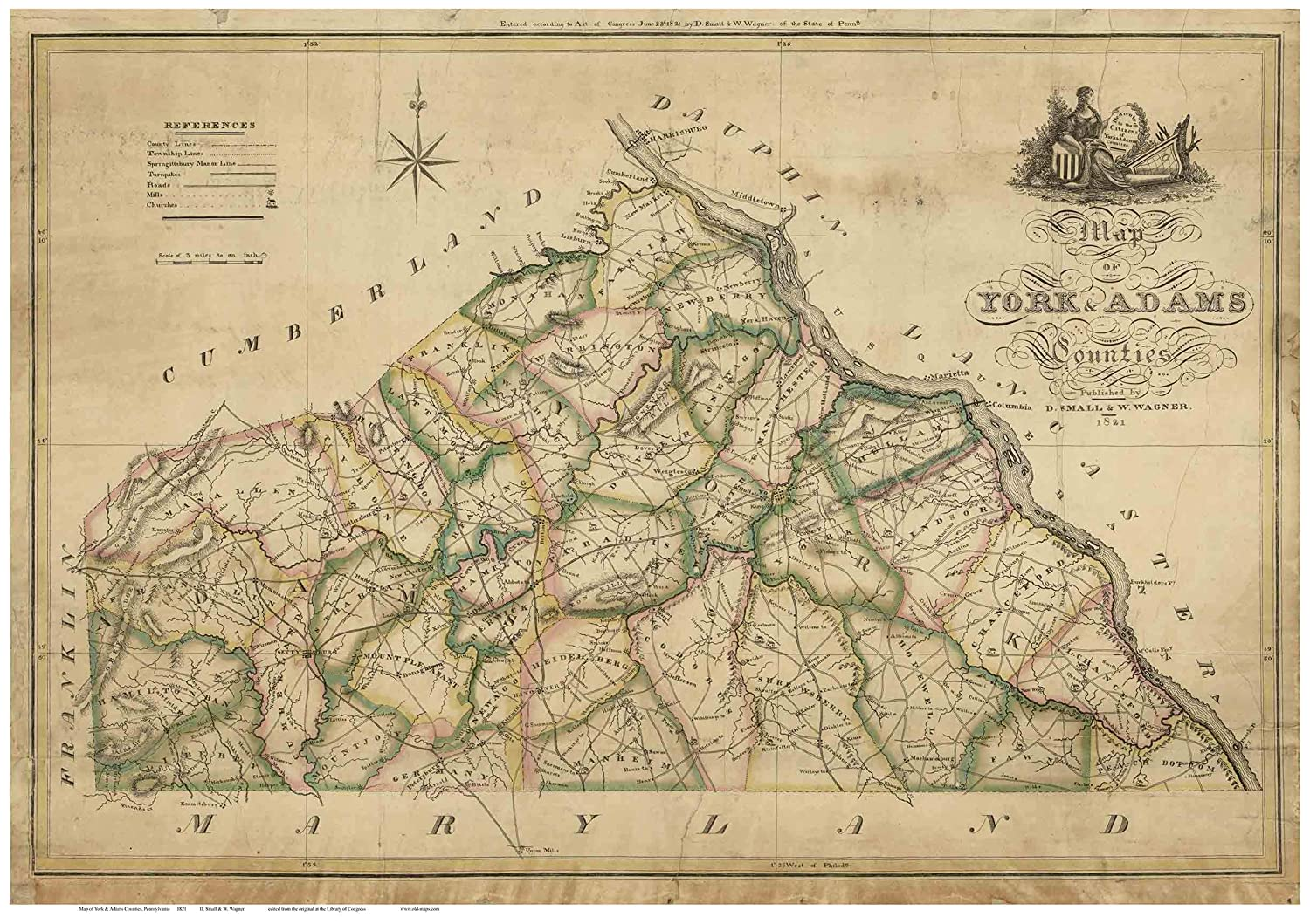 Amazon Com York And Adams Counties Pa 1821b Old Map Old Wall Map Reprint With Homeowner Names Genealogy Handmade