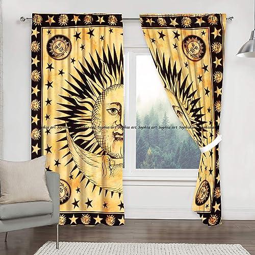 Sophia-Art Sun Moon Tye Dye Mandala Window Curtains Indian Drape Balcony Room Decor Curtain Boho Set Urban Large Tapestry Window Dorm Curtains Drapes Valances Yellow
