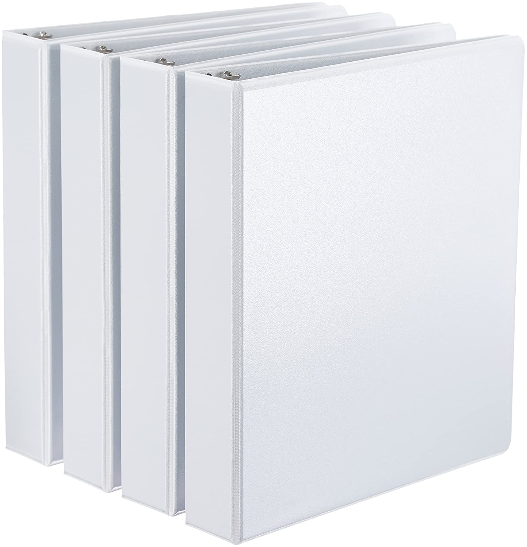 AmazonBasics D-Ring Binders - 1.5-Inch, 4-Pack