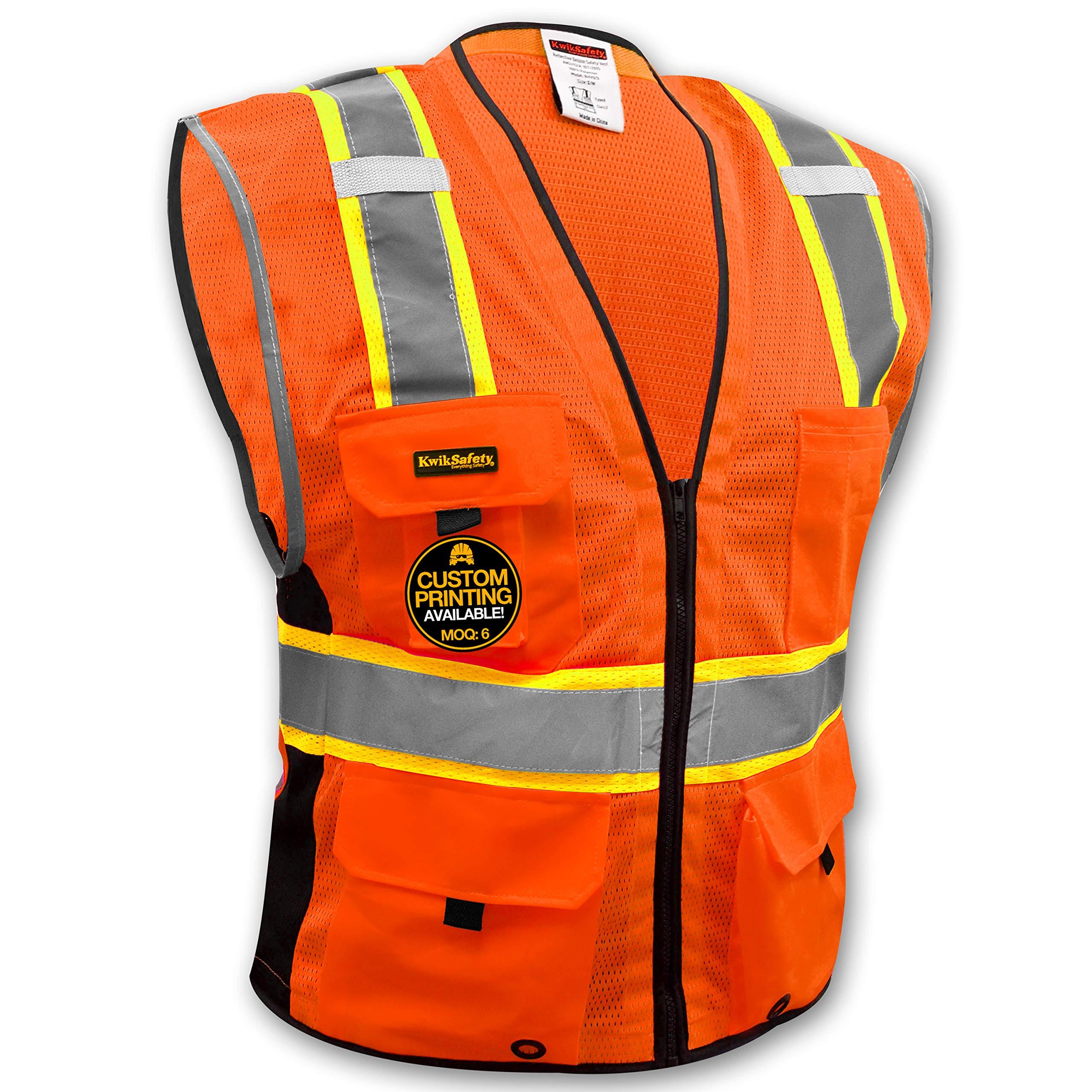KwikSafety (Charlotte, NC) BIG KAHUNA Class 2 ANSI Safety Vest OSHA High Visibility Reflective Stripes Heavy Duty Mesh Pockets and Zipper Hi-Vis Construction Work Hi-Viz Surveyor Mens Orange L/XL