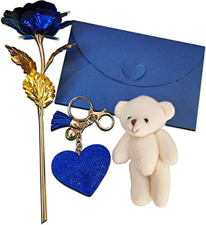 Llavero con diseño de rosa azul chapado en oro con bonito oso de ...