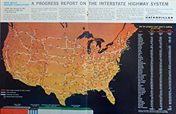 Progress Report On The Interstate Highway System United States 1963 Vintage Print Color Illustration
