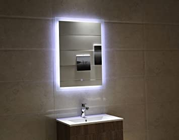 badspiegel led spiegel gs084 mit beleuchtung durch satinierte ... - Badezimmerspiegel Mit Led Beleuchtung