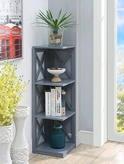 Convenience Concepts Oxford 3 Tier Corner Bookcase Gray