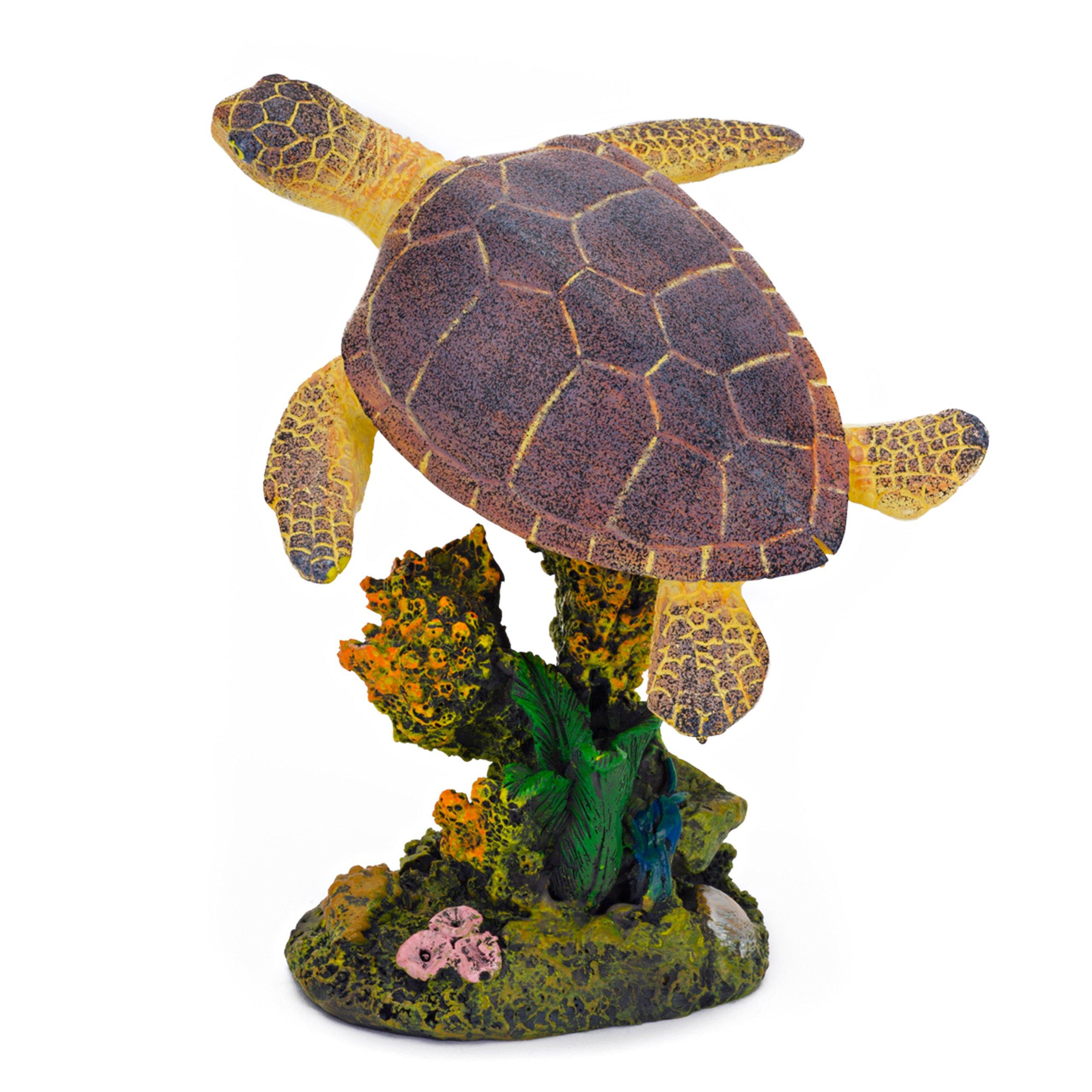 Penn Plax RR1107 Swimming Sea Turtle Aquarium Decor, Medium, Green