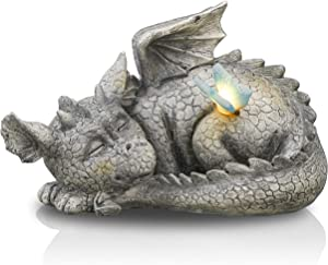 TERESA'S COLLECTIONS 9.6 inch Dragon Garden Statue with Solar Light, Funny Sleeping Dragon Decor with Butterfly, Resin Garden Art Figurines Ornaments for Outdoor Porch Lawn Yard Patio Decorations