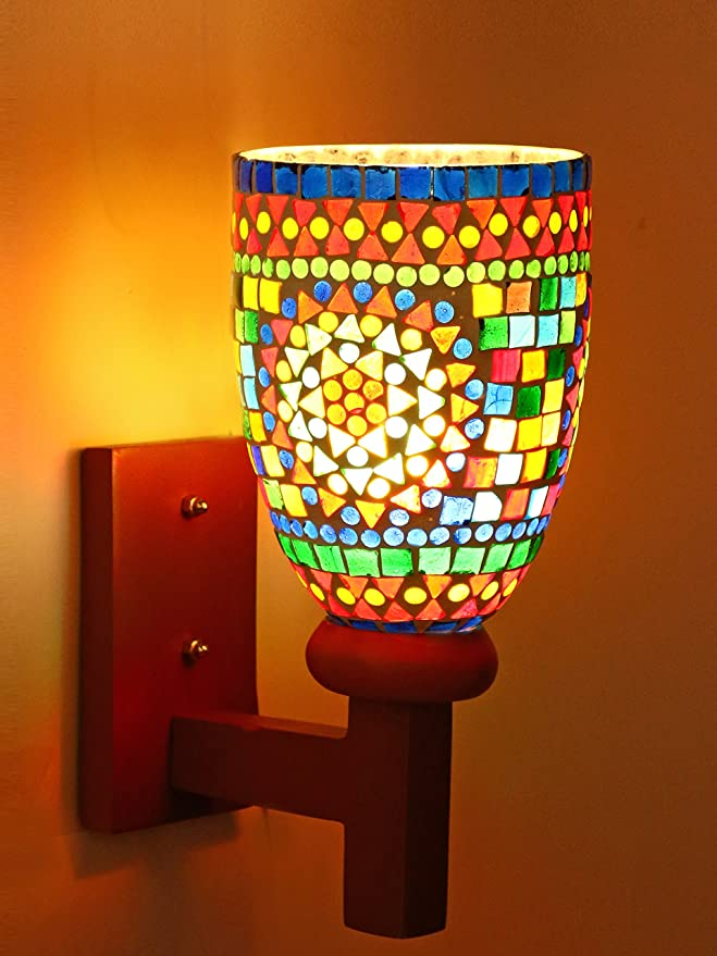 Afast New Style Mosaic Designer Glass Wall Lamp Hand Decorative with Colorful Chips and Beads for Romatic Magial Lighting Effect with Wooden Fitting & All Fixtures