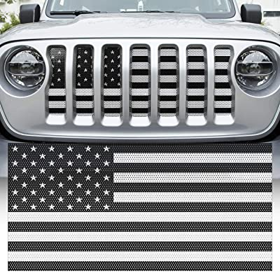 Yoursme Front Grille Grid Grill Screen Insert American Flag Design Black for Jeep wrangler JL 2020 2020: Automotive