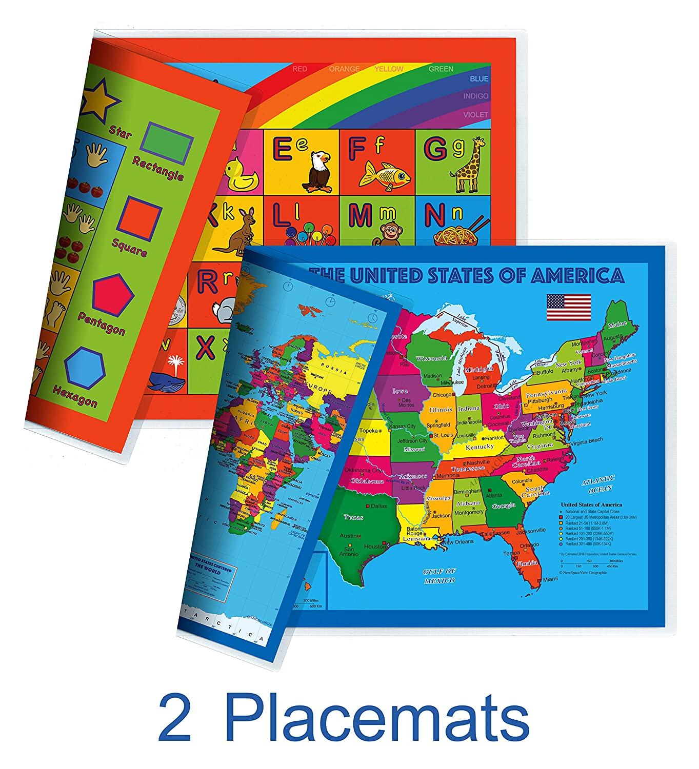 NewSpaceView Natural Learning Childrens Placemat Alphabet, Numbers, Shapes, Colors 4-in-1 1 Pack