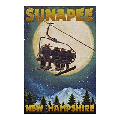 Sunapee, New Hampshire - Ski Lift and Full Moon (Premium 1000 Piece Jigsaw Puzzle for Adults, 20x30, Made in USA!): Toys & Games
