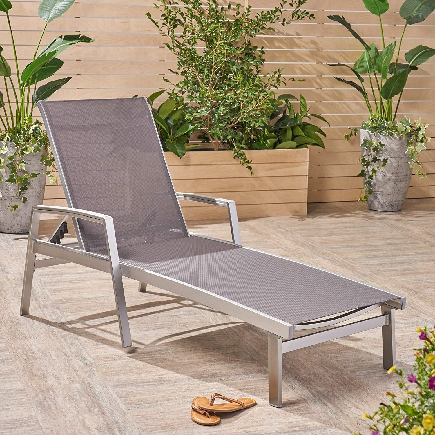 Outdoor Chaise Lounge in Gray Noble House 20.86 in