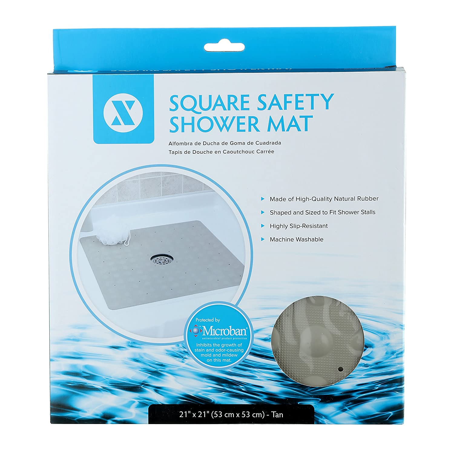 Amazon.com: SlipX Solutions Tan Square Rubber Safety Shower Mat with ...